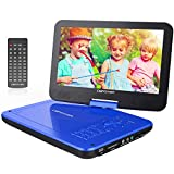 DBPOWER® 10.5' Portable DVD Player, 5 Hour Rechargeable Battery, Swivel Screen, Supports SD Card and USB, Direct Play in Formats AVI/RMVB/MP3/JPEG (10.5, Blue)