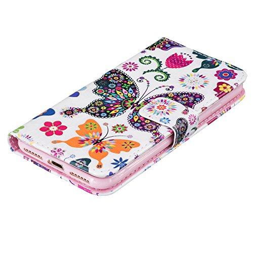 """MOONCASE iPhone 7 Coque, [Dandelion Lover] Modèle Housse Pochette en Cuir Etui à rabat portefeuille [Porte-cartes] TPU Case avec Béquille pour Apple iPhone 7 4.7"""" Papillon"""