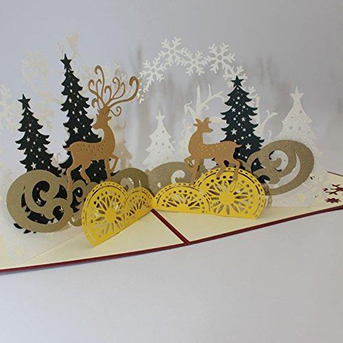 PANGUN Weihnachtswald Hirsch 3D Pop Up Grußkarte Party Gruß Karte Papier Carving Geschenk
