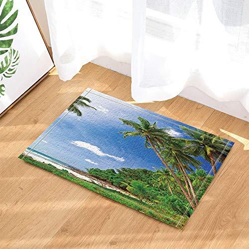 fdswdfg221 Tropische Seaside Decor Kokospalme auf Sand Bad Teppiche Rutschfeste Fußmatte Boden Eingänge Indoor Haustürmatte Kinder Bad Matte Badzubehör