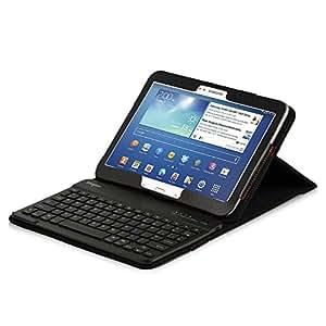 LEICKE® Sharon - Tastiera custodia protettivo per Galaxy Tab 4 10.1 (T530 / T531 / T535T530 / T531 / T535) e Samsung Galaxy Tab 3 - 10.1 (P5200, P5210, P5220) - in Eco-Pelle Premium con Tastiera Bluetooth 3.0 in alluminio REMOVIBILE, Colore Nero