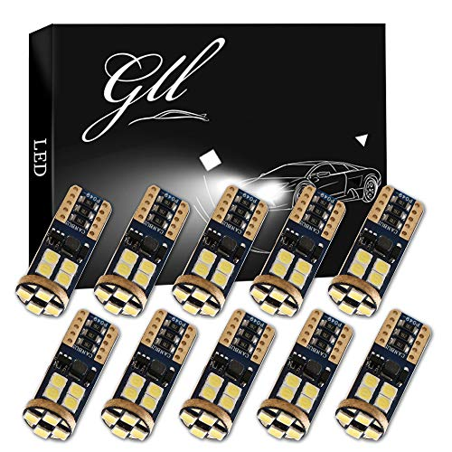 Grandview 10pcs T10 W5W LED Canbus Super Blanc Brillant 194 168 3030 12-SMD Erreur LED Intérieur de Voiture,Tableau de Bord,Plaque d'immatriculation,Feux de Position Latéraux Ampoules(9V-16V)