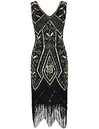 21e29f53 PrettyGuide Women 1920s Inspired Art Deco Sequin Fringed Cocktail Flapper  Dress