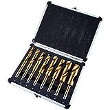 Amtech - Set di 8 punte per trapano in titanio HSS, da 14 a 25 mm, in contenitore in alluminio