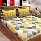 Loreto 144 TC 100% Cotton Double Bedsheet with 2 Pillow Covers, Multi Colour