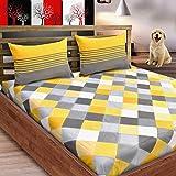 LORETO - A QUALITY LINEN BRAND 144TC Cotton Double Bedsheet with 2 Pillow Covers (Multicolour)