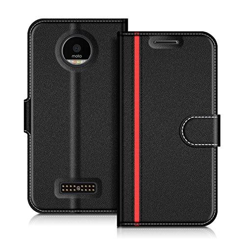 COODIO Handyhülle für Motorola Moto Z Handy Hülle, Motorola Moto Z Hülle Leder Handytasche für Motorola Moto Z Klapphülle Tasche, Schwarz/Rot