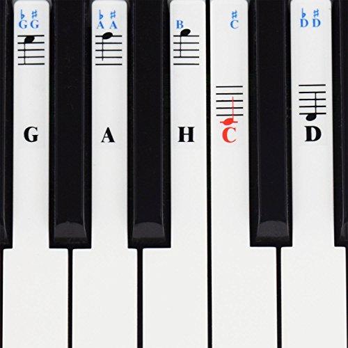 Klavier Aufkleber für 49/61 / 76/88 Key Keyboards - Transparent und abnehmbar mit Klavier EBook kostenlos
