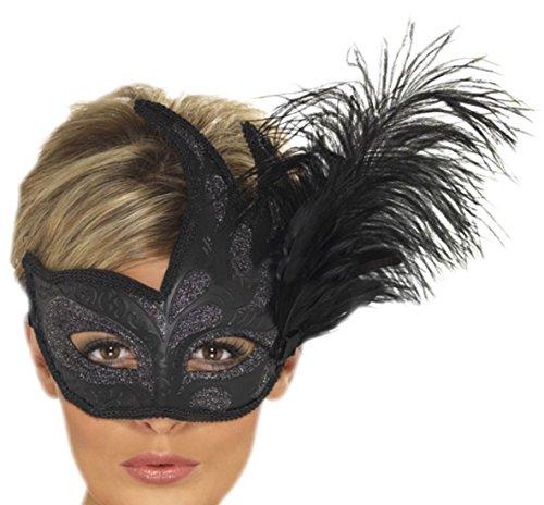 senen Karneval Faschingsmaske Venezianische Maske, Schwarz (Venezianische Piraten Maske)