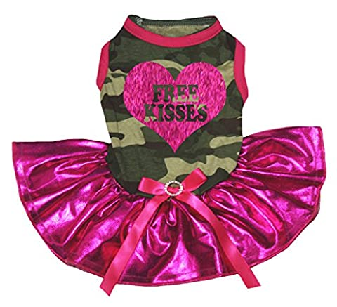 petitebelle Puppy Kleidung Kleid Best Dog Ever Camouflage Top Bling Hot Pink Tutu