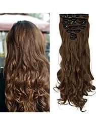 S-noilite - Full Clip tete dans les extensions de cheveux boucles Wavy frisé 8 Pcs 43cm-170g Brun clair