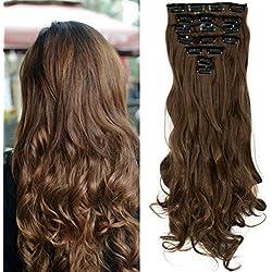 "S-noilite® 17"" (43 cm) extensiones de cabello cabeza completa clip en extensiones de pelo Ombre ondulado rizado - marrón claro"