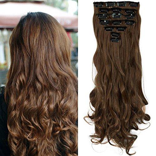 """S-noilite® 17"""" Full-Kopf-Klipp in den Haar-Verlangerungen Ombre Gewellt Gelockt Haarverlängerungen Dip Dye 8Pcs Lang Haare Hellbraun"""