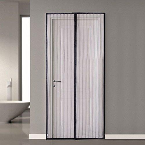 SMAGREHO Fliegengitter Moskitonetz Magnetvorhang für Tür Insektenschutz mit Klettband 100x210cm schwarz