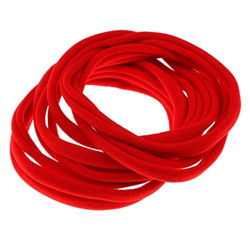 MagiDeal Zubehör für Haarfrisuren, für Frauen, Mädchen, 10 Stück, 8cm, verschiedene Farben, elastische Haargummis, Bänder, Strick, Pferdeschwanzhalter, Stirnband, Zopfband - Rot