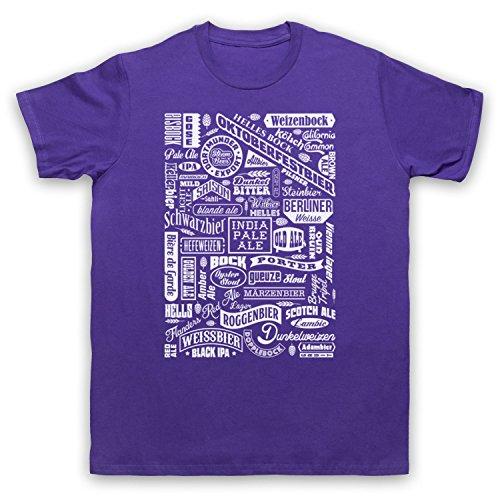Craft Beer Types Drink Lover Typography Herren T-Shirt Violett