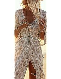 SKY Big promotion for the Summer dress !!!Mujer estilo bohemio de gasa suelta verano playa Gallus tobillo de longitud vestido largo