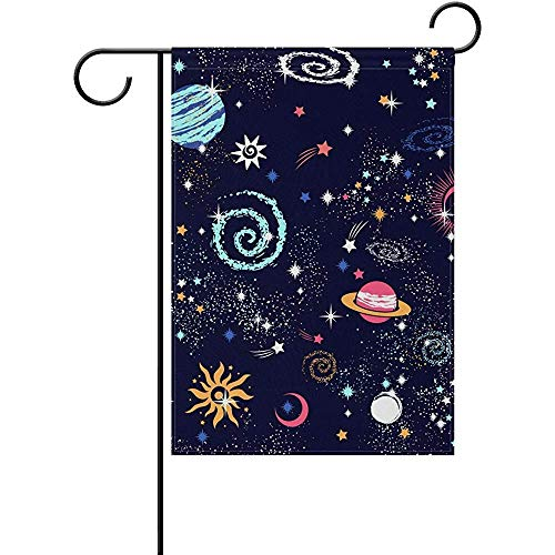 """hdgfjhdfjdf Cute Galaxy Stars Planets Space Universe Moon Sun Garden Yard Flag Banner Decorative for Outside House Flower Pot Double Sided Print 12"""" x 18"""""""