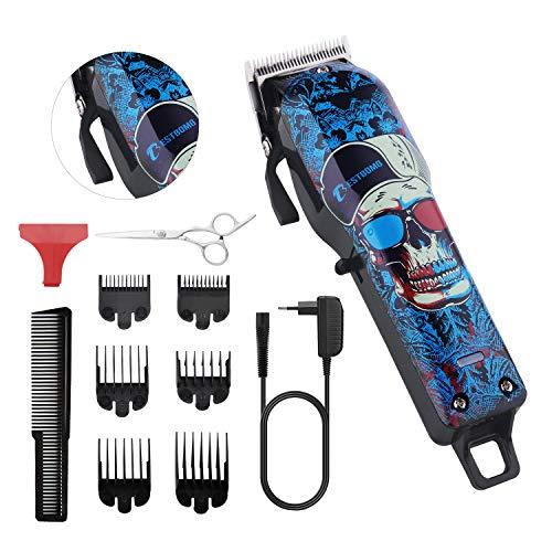 Haarschneidemaschine Profi, BESTBOMG Haarschneider Haarscherer Maschine Langhaarschneider Haarrasierer Set Haartrimmer für Herren Männer mit LED Anzeige (Skull)