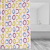 Duschvorhangringe für Badezimmer Duschvorhänge Duschvorhang aus Stoff, Farbe Kreise Duschvorhänge Moon mood® Polyester wasserdichter Duschvorhang in der Größe 180,0 cm x 180,0 cm, Anti-Schimmel Duschvorhang Verdickung Duschvorhang mit Schnalle