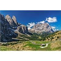 Cuadro sobre lienzo 120 x 80 cm: Dolomite panorama Langkofel and Sellagruppe de Achim Thomae - cuadro terminado, cuadro sobre bastidor, lámina terminada sobre lienzo auténtico, impresión en lienzo