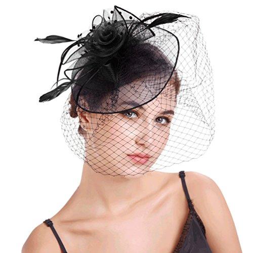 Yujeet Forma Floral Sombreros Y Tocados De Mujer Con Velo De Moda Diadema Transparente Headwear Novia Para La Boda Cocktail Party Negro One Size