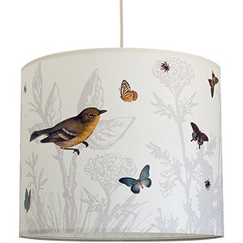 anna wand Lampenschirm IM GARTEN – Schirm für Lampen mit Pflanzen- und Vögel-Motiv in dezenten Farben – Sanftes Licht für Tischleuchte / Stehlampe / Hängelampe im Wohnzimmer, Esszimmer, Schlafzimmer