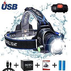 AUKELLY Linterna Frontal LED Recargable Linternas Frontales Alta Potencia,LED Lámpara de Cabeza 3 Modos,Linterna Frontale Recargable USB,1000 Lumen Linterna Frontal para Camping,con 18650 Baterías