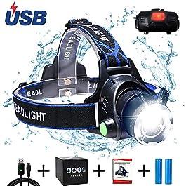 Aukelly LED Lampade da Testa Lampada Frontale Torcia Frontale Torcia Ricaricabile,Impermeabile Torcia Testa LED,Zoomable,con 3 Modalit,Lampada Frontale Campeggio,Include Batteria 18650