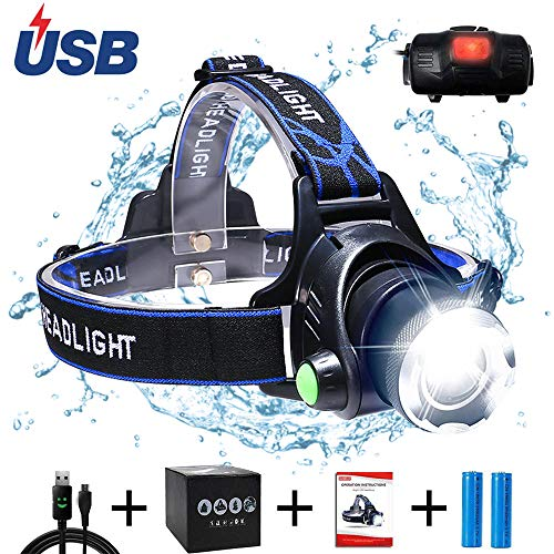 AUKELLY Linternas Frontals USB Recargable LED Linterna Frontale Alta Potencia,Lámpara de Cabeza 3 Modos,Linterna Frontale Recargable USB,1000 Lumen Linterna Frontal para Camping,con 18650 Baterías