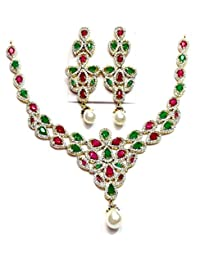 Shingar Jewellery Diamond Look Necklace Set In Ruby Panna Colour For Women (67-nad-a)