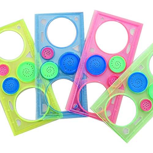 Multifunktionales transparentes Millionen Blumen Lineal, Kunststoff, Zeichnungs-Schablone, Messwerkzeug, bunt, geometrisches Lineal, für Kinder