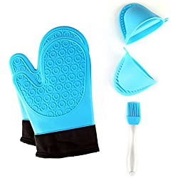 Jonhen - Guantes de Horno de Silicona Resistente al Calor Antideslizantes con Forro de algodón para Cocina, 1 par de Guantes de Horno, Cepillo Extra y Soporte para macetas (Azul)