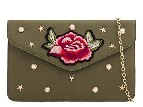 Haute für Diva S NEU mit Nieten besetzt Kunstleder bestickt Blumenmuster Verzierung Damen Geldbörse Clutch Tasche - Rosa, Small Khaki