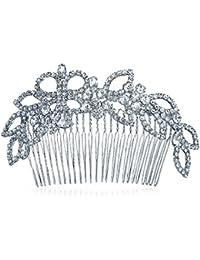 Bling Jewelry Peineta Tiara Princesa Hoja de Laurel con Cristal Boda Novia
