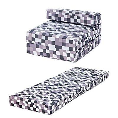 Grey Pixels Design Single Foam Fold Out Z Bed Chair Guest Mattress Sleepover - low-cost UK light store.