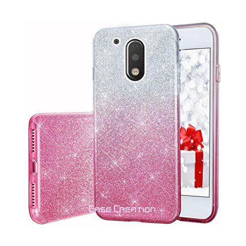 Case Creation 2 In 1 Use Shining Glitter Skin With Transparent Back Case Cover For Motorola Moto G4 Plus - Pink + Silver Shade
