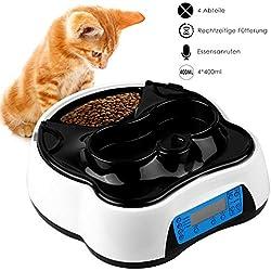 PEDY 2 en 1 Alimentador Automático para Mascotas como Gatos y Perros, 4 Comidas Dispensador de alimentos secos y húmedos, con Temporizador, Pantalla LCD, grabador de voz, 1.6 litros