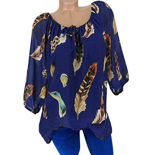 GJKK Bluse Damen Herbst Shirt Reizvoller Übergröße Half Ärmel Federdruck V-Ausschnitt Sweatshirt Langarmshirt Tops Oberteil Hemd T-Shirts Tunika(S-5XL)