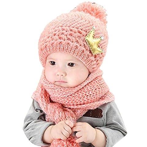 pour 2-12 mois bébé, Amlaiworld Coiffe en laine chaude capuche écharpe + Casquettes (Rose)