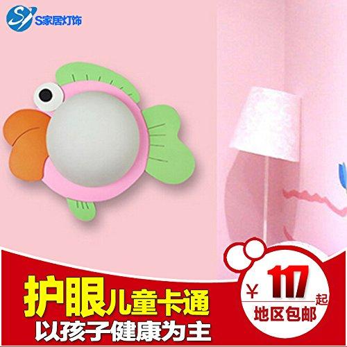 LIYAN minimalistische Wandleuchte Wandleuchte E26 /E32180Kinderzimmer Schlafzimmer Wand Lampe LED Licht und warmen Kopfteile aus Holz kreativ Cartoon Fish Eye, dem LED-Chip upgrade weiße Lampe 6 W Update-chip