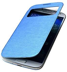 EK-Mobile Premium Flip Cover für Samsung Galaxy S4 Mini i9190 / S4 Mini LTE i9195 Sichtfenster View Hülle Tasche Case Akkudeckel Blau / blue