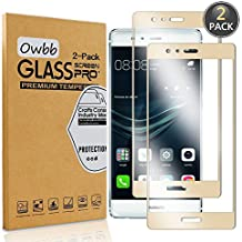 [2 Pack] Owbb Tempered Glass Screen Protector For Huawei P9 (5.2inch) Gold Full Coverage Film 99% Hardness High Transparent Explosion-proof