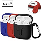 MVE®™ Apple AirPods Case,Silicone Shock Proof Protection Sleeve Skin Carrying Bag Box Cover Case For AirPods With Keychain Clip For Wireless Headset Headphones Earphone COLOUR MAY VARY