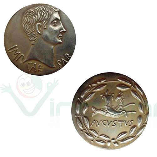 Vinciann copia riproduzione metallo replica moneta antica roma imperatore augusto 25ac