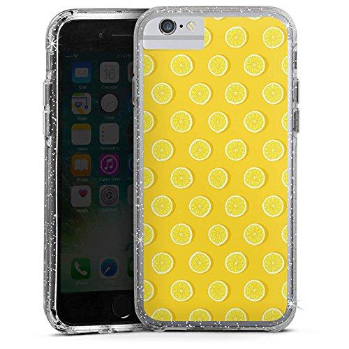 Apple iPhone 8 Bumper Hülle Bumper Case Glitzer Hülle Zitronen Summer Sommer Bumper Case Glitzer silber