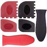 ccmart stabiler Grill Pfanne Schaber Kunststoff Set Werkzeug und Silikon Hot Griff Halter für Gusseisen Bratpfannen, Töpfe und Grillplatte, schwarz (rot, 6Stück)