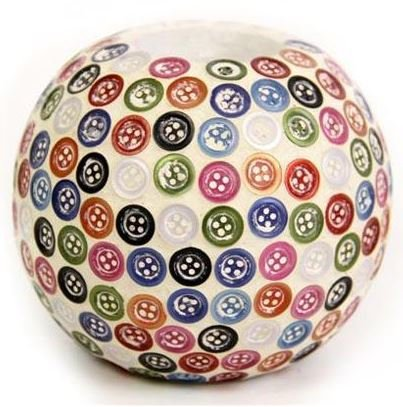 Mosaic Multi Colour Button Ball Baubles Tea Light Candle Holder Gift Home Decoration Ornament Hand Made Vintage Room Xmas