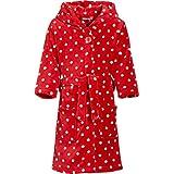 Playshoes Kinder Fleece-Bademantel Punkte mit Kapuze, flauschiger Morgenmantel für Mädchen