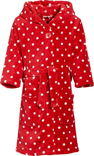 Playshoes Mädchen Fleece Punkte Bademantel, Rot (original 900), 134 (134/140)